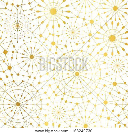 Vector Golden White Abstract Network Metallic Circles Seamless Pattern Background. Great for elegant gold texture fabric, cards, wedding invitations, wallpaper. Surface pattern design.