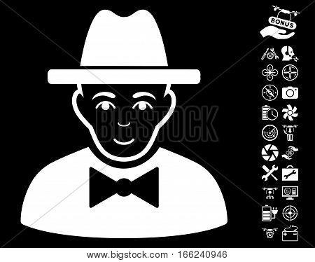 Spy pictograph with bonus uav tools design elements. Vector illustration style is flat iconic white symbols on black background.