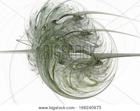 3D Rendering With Green Abstract Fractal Pattern