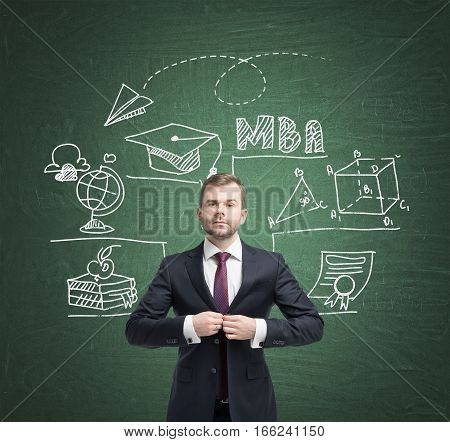 Bearded businessman is buttoning his suit while standing near a green chalkboard wall with education and MBA icons.