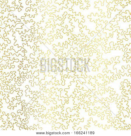 Vector Golden On White Abstract Doodle Drawing Line Texture Seamless Pattern Background. Great for elegant gold texture fabric, cards, wedding invitations, wallpaper.Surface pattern design.