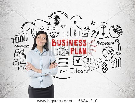 Positive Woman In Blue Shirt And Business Plan