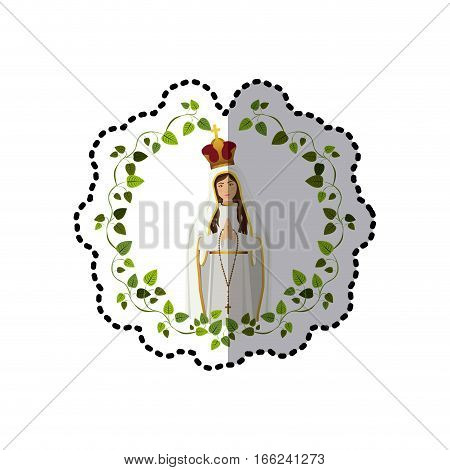 sticker arch of leaves with saint virgin coronated