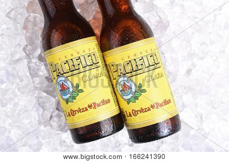 IRVINE CALIFORNIA - JANUARY 22 2017: 2 Bottles of Cerveza Pacifico Clara on Ice better known as Pacifico is a Mexican pilsner-style beer brewed in in the Pacific Ocean port city of Mazatlan.