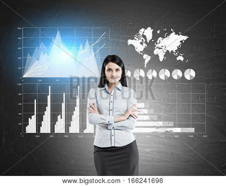 Woman In Blue And Four Graphs On Blackboard