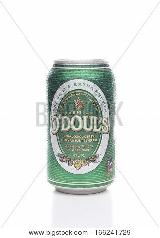 IRVINE CALIFORNIA - JANUARY 22 2017: ODouls Malt Beverage can. The Non-Alcoholic beer is produced by Anheuser-Busch.