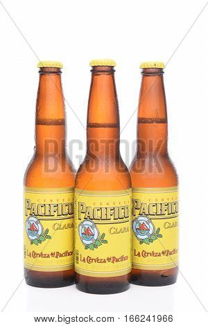 IRVINE CALIFORNIA - JANUARY 22 2017: 3 Bottles of Cerveza Pacifico Clara better known as Pacifico is a Mexican pilsner-style beer brewed in in the Pacific Ocean port city of Mazatlan.
