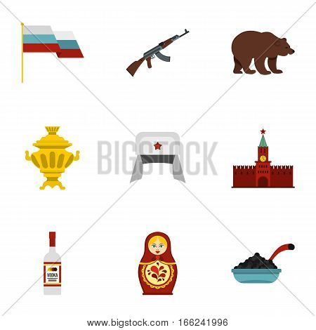 Russia icons set. Flat illustration of 9 Russia vector icons for web