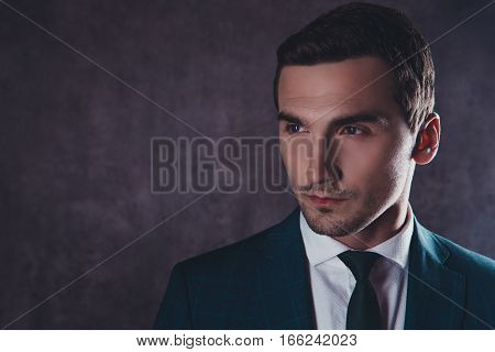 Closeup Portrait Of Handsome Young Serious Man In Formalwear
