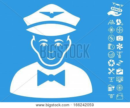 Airline Steward icon with bonus copter service symbols. Vector illustration style is flat iconic white symbols on blue background.
