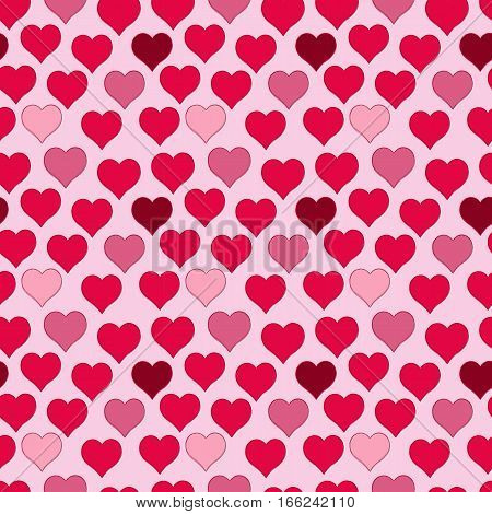 seamless pattern of red hearts, valentines day on a valentines background