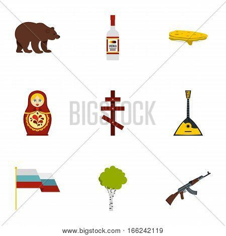 Symbols representing Russia icons set. Flat illustration of 9 symbols representing Russia vector icons for web