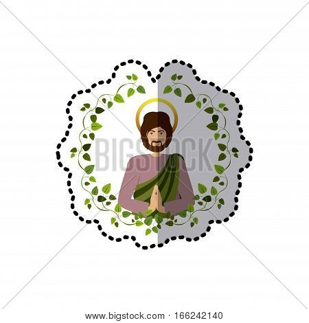sticker arch of leaves with half body picture saint joseph praying vector illustration