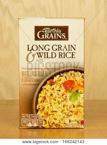 RIVER FALLS,WISCONSIN-JANUARY 22,2017: A box of Long Grain and Wild Rice mix with a wood background.