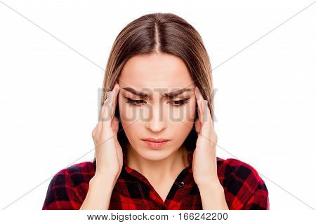 Portrait Of Sick Young Woman Having Strong Headache