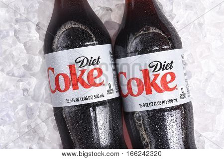 IRVINE CALIFORNIA - January 22 2017: 3 bottles of Diet Coke on ice. Coca-Cola is the one of the worlds favorite carbonated beverages.