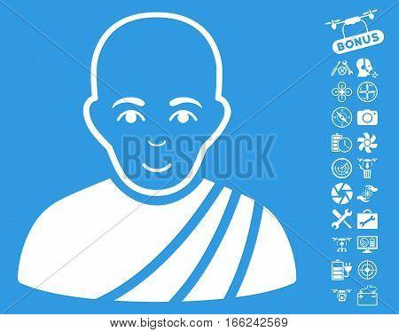 Buddhist Monk icon with bonus quad copter service icon set. Vector illustration style is flat iconic white symbols on blue background.