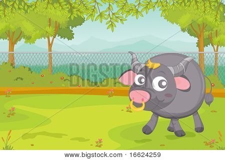 illustration of buffallo in garden