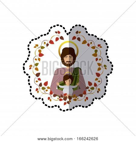 sticker arch of autumn leaves with half body saint joseph with baby jesus