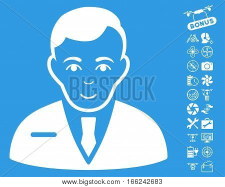 Businessman pictograph with bonus airdrone service pictures. Vector illustration style is flat iconic white symbols on blue background.