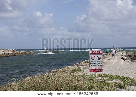 Danger Sign South Inlet Park Boca Raton Florida