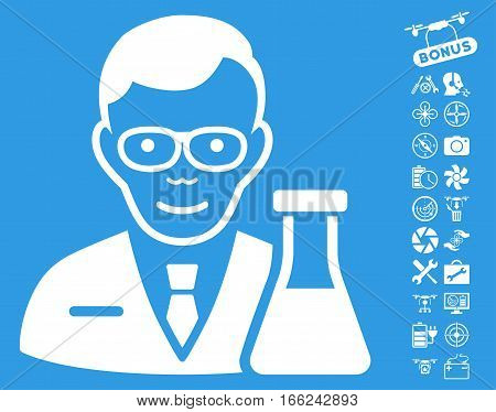 Chemist pictograph with bonus quadrocopter tools clip art. Vector illustration style is flat iconic white symbols on blue background.