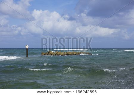 Danger Submerged Rocks in the Boca Raton Inlet Florida