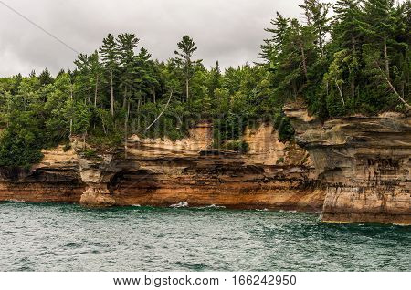Sandstone cliffs on the shore of Lake Superior