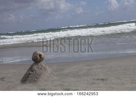 Coconut Volcano Sand Art  on beach Boca Raton Florida