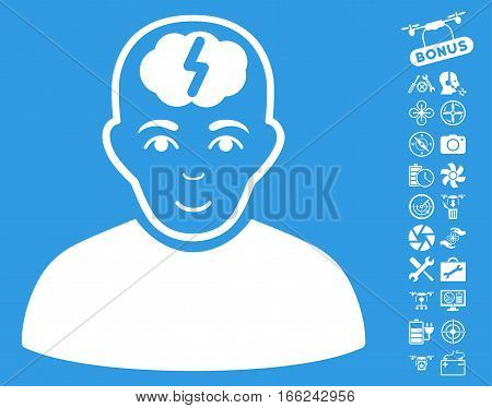 Clever Boy pictograph with bonus airdrone service clip art. Vector illustration style is flat iconic white symbols on blue background.