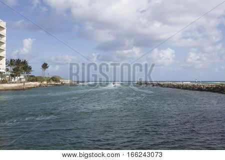 Cruising along the Boca Raton Inlet on a Jet Ski