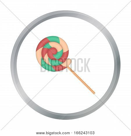 Lollipop icon in cartoon style isolated on white background. Circus symbol vector illustration. - stock vector