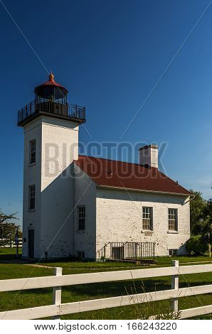 Sand Point lighthouse in Escanaba, Michigan on Lake Michigan