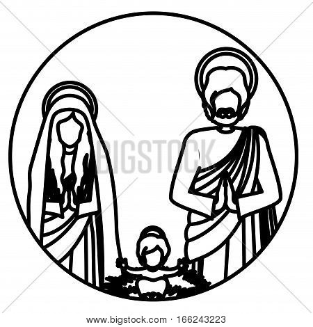 circular contour sacred family with baby jesus vector illustration