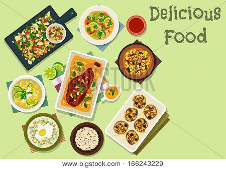 Indian cuisine spicy lunch icon with seafood curry, rice with spices, vegetable salad, marinated lemon with chilli, pea pancake with olives and anchovy, baked lamb, corn soup, yogurt soup with egg