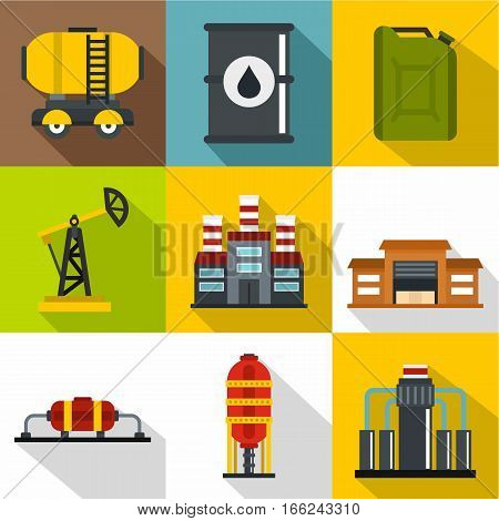 Fuel icons set. Flat illustration of 9 fuel vector icons for web