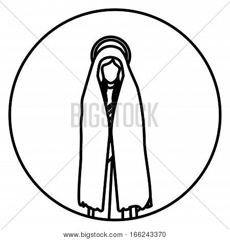 circular shape with silhouette of saint virgin mary vector illustration
