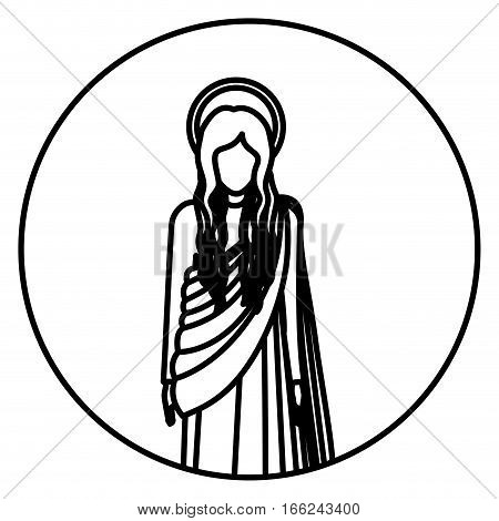 circular shape with silhoutte figure human of saint virgin maria vector illustration