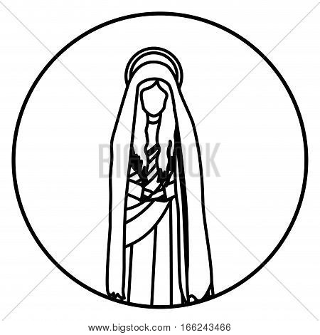 circular shape with contour figure of saint virgin maria vector illustration