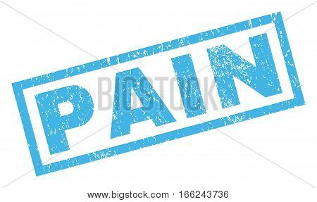 Pain text rubber seal stamp watermark. Tag inside rectangular banner with grunge design and scratched texture. Inclined vector blue ink sign on a white background.