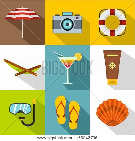 Relax on beach icons set. Flat illustration of 9 relax on beach vector icons for web