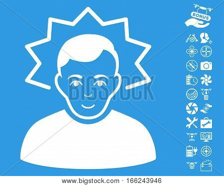 Inventor icon with bonus airdrone tools clip art. Vector illustration style is flat iconic white symbols on blue background.