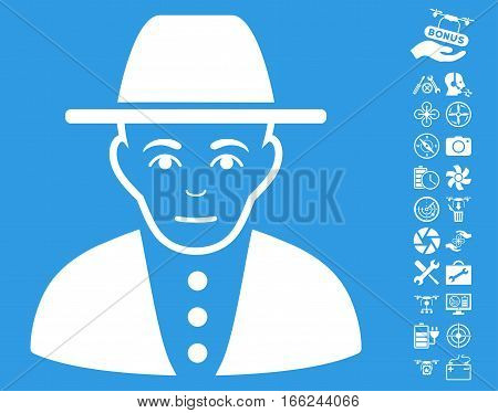 Jew pictograph with bonus quad copter tools clip art. Vector illustration style is flat iconic white symbols on blue background.