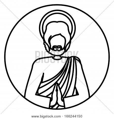 circular shape with contour of half body picture saint joseph praying vector illustration