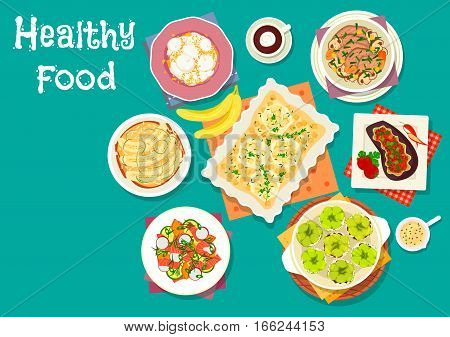 Healthy meat dishes with fruit desserts icon of beef vegetable stew, stuffed pepper with rice, banana pudding, apple cheese pie, stuffed eggplant with meat, salmon veggies salad, cream cheese cake