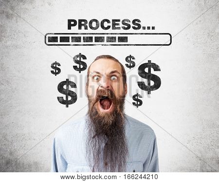 Portrait of a screaming man with long beard standing against a concrete wall with a loading bar and dollar signs on it.