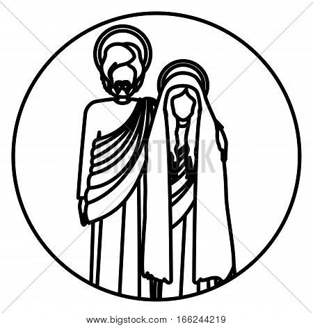 circular shape with silhouette virgin mary and saint joseph embraced vector illustration