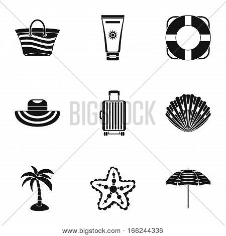 Sandy beach icons set. Simple illustration of 9 sandy beach vector icons for web