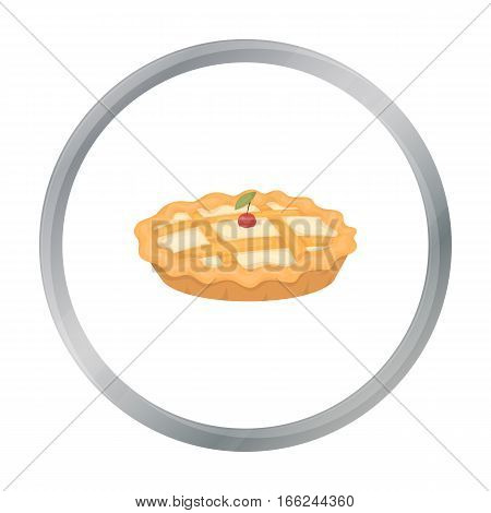 Thanksgiving pie icon in cartoon style isolated on white background. Canadian Thanksgiving Day symbol vector illustration. - stock vector