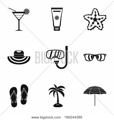 Coast icons set. Simple illustration of 9 coast vector icons for web